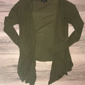 Army Green Long Sleeve Cardigan w/ POCKETS